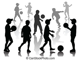 Set of nine young boys playing in football