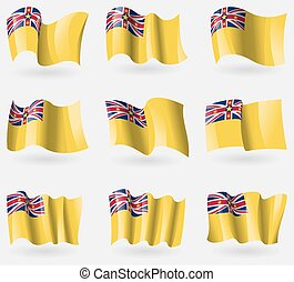 Set of Niue flags in the air. Vector