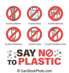 Set of no plastics sign. Environmental problem concept. Simple design, stroke outline style icon.