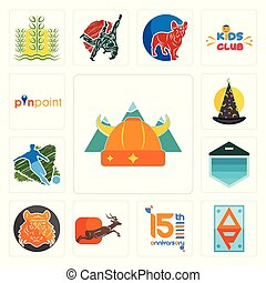 Set of norse, ap, 15th anniversary, antelope, bengal tiger, garage door, football, wizard hat, pinpoint icons