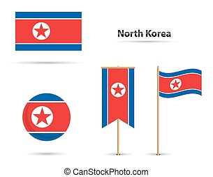 Set of north korea flags