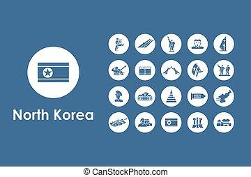 Set of North Korea simple icons
