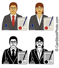 set of notary vector icons male and female, with stamp, pen and approved documents, isolated on a white background
