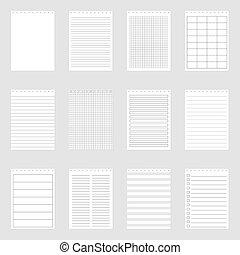Set of note paper sheets, vector illustration