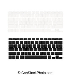 Set of notebook keyboards with empty buttons in different colours isolated on white