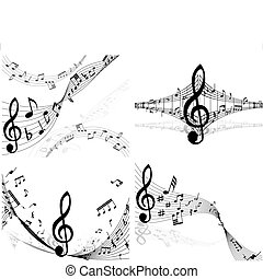 set of notes stuff - Set of four vector musical notes staff