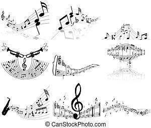 set of notes stuff - Set of nine vector musical notes staff