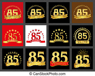 Set of number eighty-five (85 years) celebration design....