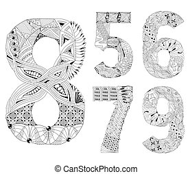 set of number five, six, seven, eight, nine Zentangle....