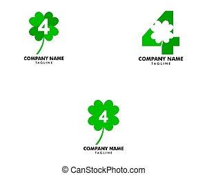 Set of Number four and green clover leaf logo design