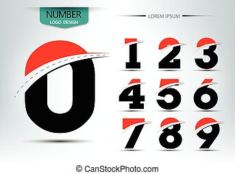 Set of number logo or icon template