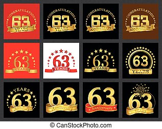 Set of number sixty-three (63 years) celebration design. Anniversary golden number template elements for your birthday party..