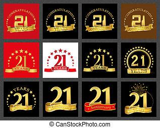 Set Of Number Twenty One 21 Years Celebration Design Anniversary Golden