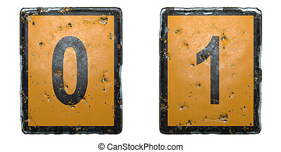 Set of numbers 0, 1 made of public road sign orange and black color on white background. 3d