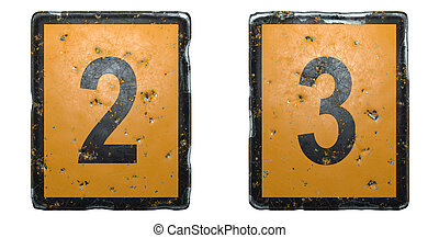 Set of numbers 2, 3 made of public road sign orange and black color on white background. 3d