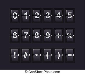 Set of numbers and symbols on a mechanical scoreboard. Vector template.