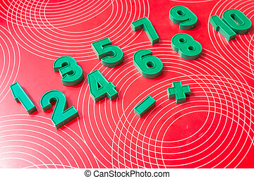 Set of numbers at school, equipment for education. tools for learning. green numbers on a red background. Education and learning concept. new school year. back to school
