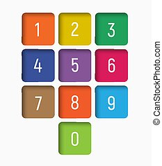 set of numbers from 0 to 9 in multi-colored squares