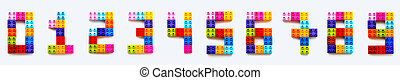 Set of numbers from 0 to 9 made of colorful constructor blocks. Toy bricks lying in order from zero to nine. Education process - learning numbers with child using multicolored toy details.