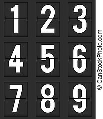 Set of  numbers from mechanical timetable board