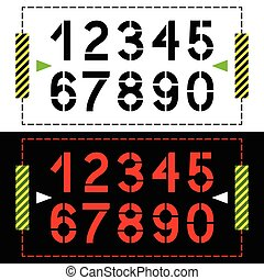 Set of numbers in classic stencil style on black and white background