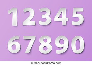 Set of numbers in paper style