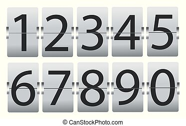 set of numbers isolated on white