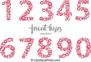 Set of numbers, made from printed kisses