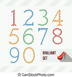 Set of numbers of shoes and gems
