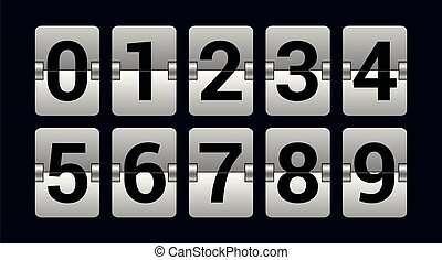 Set of numbers on a scoreboard - realistic vector isolated object