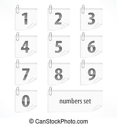 Set of numbers on paper stickers
