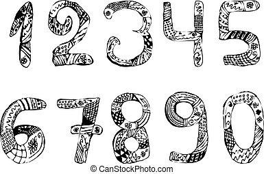 Set of numbers. Vintage. Doodle. Hand draw. Vector illustration on isolated background.