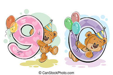 set of numbers being in the legs in a fun teddy bears, template greeting card for a birthday child. Part four - the numbers 9, 0