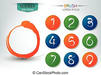 Set of numbers written with a brush abstract vector