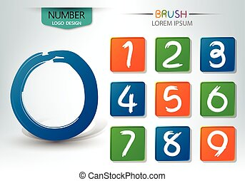 Set of numbers written with a brush style vector