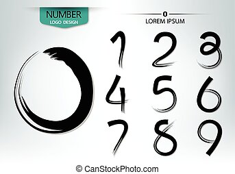 Set of numbers written with a brush vector
