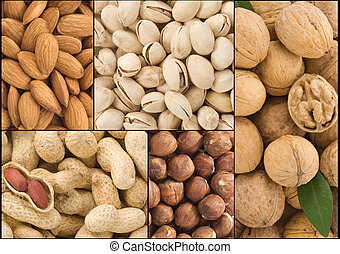 set of nuts collage