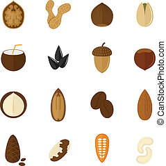 Set of nuts icons - Set of almond hazelnut coconut sunflower...