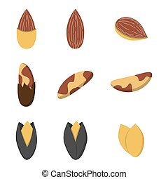 Set of nuts in flat style.