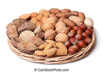 Set of nuts in wicker plate