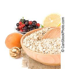 set of oat flake isolated on white background