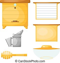 Set of objects for the production of honey. Items for the production of honey. Cartoon style. Objects apiary: beehive, frame with wax, smoker, mask. Vector symbols apiary. Stock vector