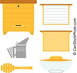Set of objects for the production of honey. Items for the production of honey. Objects apiary: beehive frame with wax smoker mask. Vector symbols apiary. Stock vector