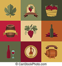 Set of objects, icons for wine and restaurants.