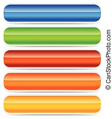 Set of oblong button, banner backgrounds in several colors.