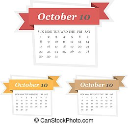 Set of October 2017 calendar with ribbon in a flat design
