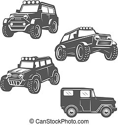 set of off road cars icons isolated on white background. Images