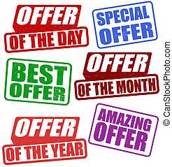Set of offer stamps
