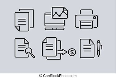 Set of office and business linear icons. Vector illustration