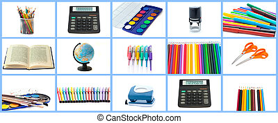 Set of office and school objects isolated on white background. Full size.